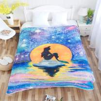 ENCOFT Flannel Bed Blanket Full Size for Couch Sofa and Bed, Soft Galaxy Mermaid Throw Blanket