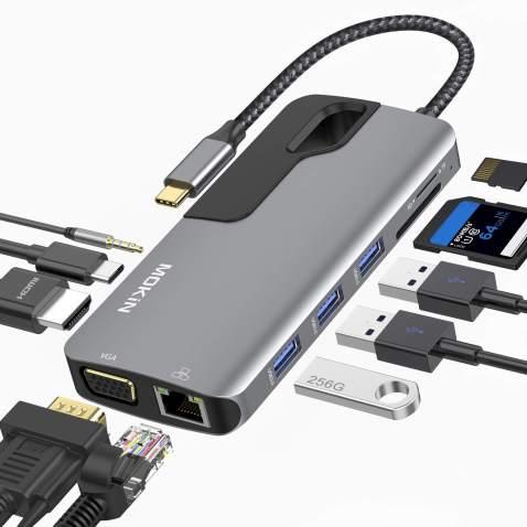 Multifunction Type-C USB Hub Multifunction Type-C Hub HD Video HDMI VGA Output Gigabit Ethernet RJ45 Adapter USB 3.0 Ports DSP Support Audio TF Cards