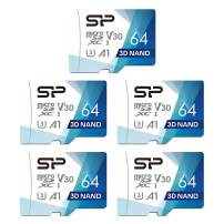 Silicon Power 64GB 5-Pack R/W up to 100/ 80MB/s Superior Pro Micro SDXC UHS-I (U3), V30 4K A1, High Speed MicroSD Card with Adapter