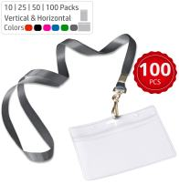 Durably Woven Lanyards & Horizontal ID Badge Holders ~ Premium Quality, Waterproof & Dustproof ~ for Moms, Teachers, Tours, Events, Businesses, Cruises & More (100 Pack, Gray) by Stationery King