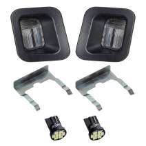 HERCOO LED License Plate Light Lamp Lens Black Housing White Bulbs Clip Retainer Compatible with 2003-2018 Dodge Ram 1500 2500 3500 Pickup Truck Rear Step Bumper Aftermarket Repalcement, Pack of 2