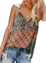 HUUSA Women's V Neck Strappy Tank Tops Loose Casual Sleeveless Shirts Blouses