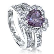 BERRICLE Rhodium Plated Sterling Silver Purple Heart Shaped Cubic Zirconia CZ Statement Halo Engagement Wedding Ring Set 2.82 CTW