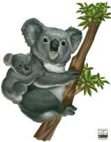 Koala Bear & Baby Animal Wall Decals Wall Mural Decals Jungle Safari Wall Stickers Girls and Boys Wall Art Vinyl Stickers for Bedroom Peel n' Stick Kids Room Decor Nursery Toddler Teen Playroom
