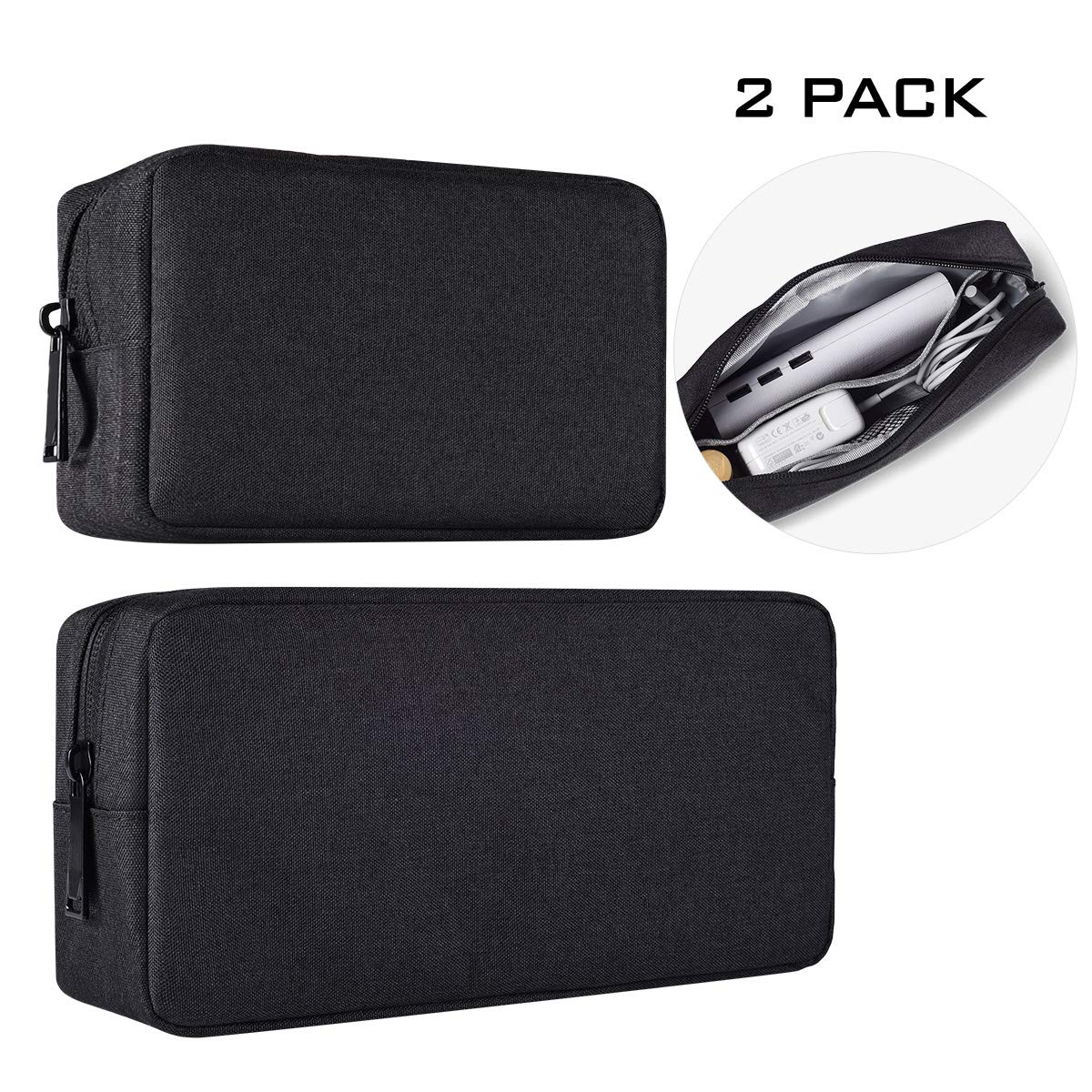 Universal Electronics Accessories Case, 2-Pack Portable Soft Carrying Case Bag Wire Cable Organizer for Hard Drive, Power Adapter, Laptop Mouse, Cosmetics Kit, Small+Big-Black