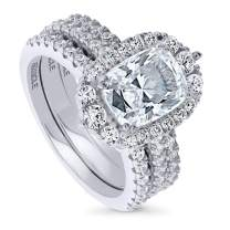 BERRICLE Rhodium Plated Sterling Silver Cushion Cut Cubic Zirconia CZ Halo Engagement Wedding Ring Set 3.81 CTW