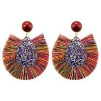 CAT EYE JEWELS Bohemian Colorful Statement Boho Long Dangle Drop Fringe Fan Tassel Earrings