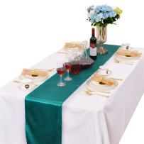 LOVWY 12 x 108 Inches Pack of 20 PCS Satin Table Runner for Wedding Party Engagement Event Birthday Graduation Banquet Decoration (Colors Optional) (Malachite Green)