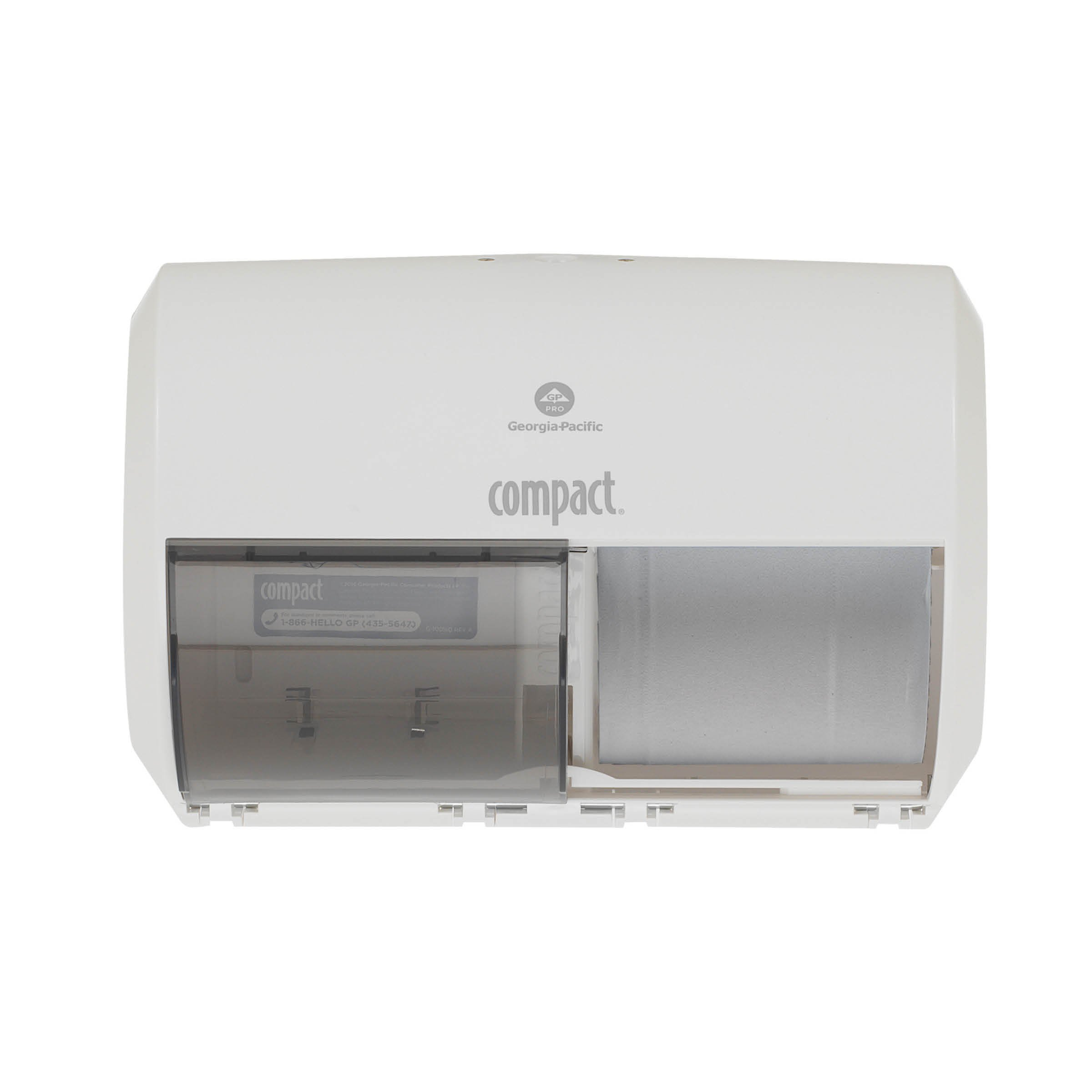 """Compact 2-Roll Side-by-Side Coreless High-Capacity Toilet Paper Dispenser by GP PRO (Georgia-Pacific), White, 56797A, 10.120"""" W x 6.750"""" D x 7.120"""" H"""