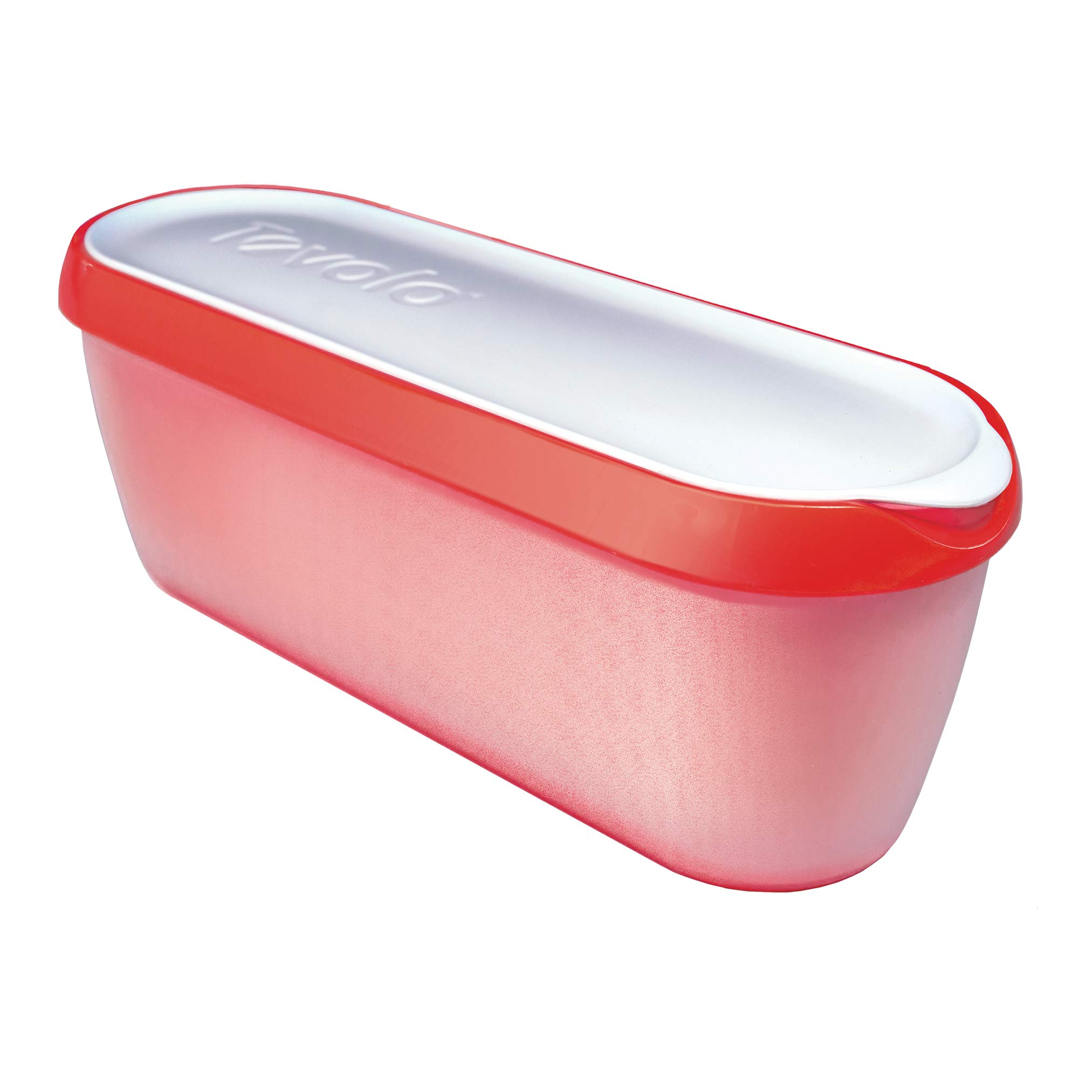 Tovolo Glide-A-Scoop Ice Cream Tub, 1.5 Quart, Insulated, Airtight Reusable Container With Non-Slip Base, Stackable on Freezer Shelves, BPA-Free, Strawberry Sorbet