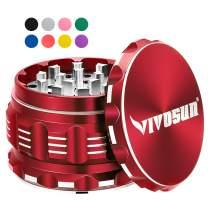 """VIVOSUN 2.5"""" 4 Pieces Herb Grinder Aluminium Spice Grinder with Pollen Scraper Red"""