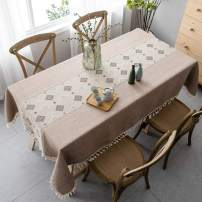 Pahajim Modern Cotton Linen Table Cloth Rectangle Dust-Proof Tablecloth Stitching Tassel Embroidered Tablecloth for Kitchen Dining (Pink Brown-Modern, Rectangle/Oblong, 55 x 71 Inch)