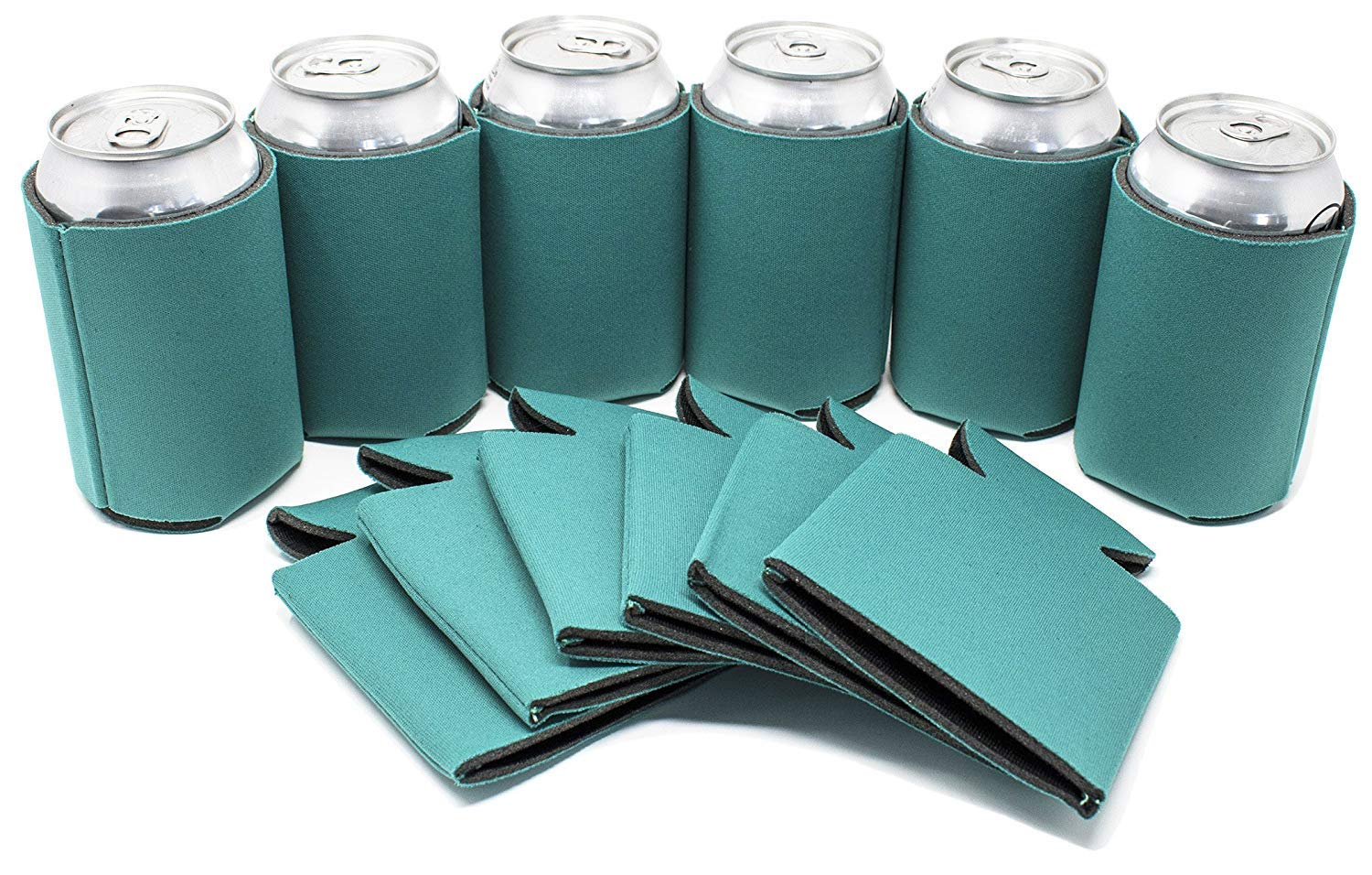 TahoeBay 12 Blank Beer Can Coolers, Plain Bulk Collapsible Soda Cover Coolies, DIY Personalized Sublimation Sleeves for Weddings, Bachelorette Parties, Funny HTV Party Favors (Teal, 12)