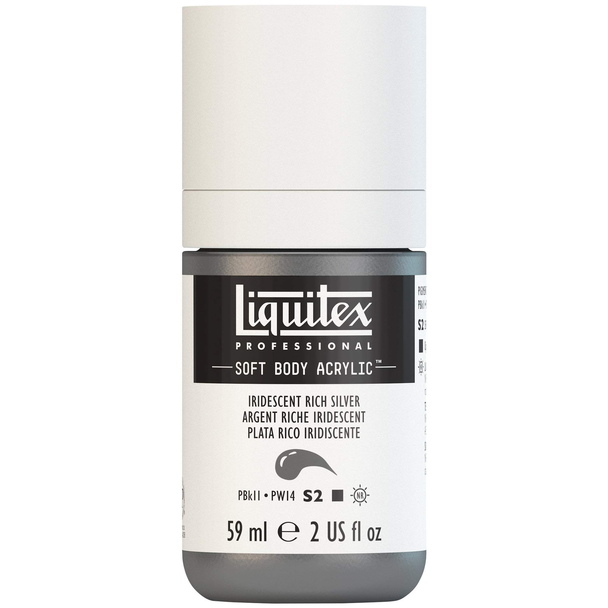 Liquitex Professional Soft Body Acrylic Paint 2-oz bottle, Iridescent Rich Silver