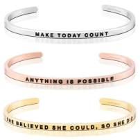 MantraBand Bracelet Stack - Motivation - Inspirational Engraved Adjustable Mantra Band Cuffs - Silver, Gold, Rose Gold - Gifts for Women