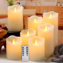 """Flameless Candles Flickering Battery Operated LED Candles Set of 7 (D:3"""" X H:4"""" 4"""" 5"""" 5"""" 6"""" 7"""" 8"""") Ivory Real Wax Pillar with Moving Flame & 10-Key Remote Control and Cycling 24 Hours Timer"""