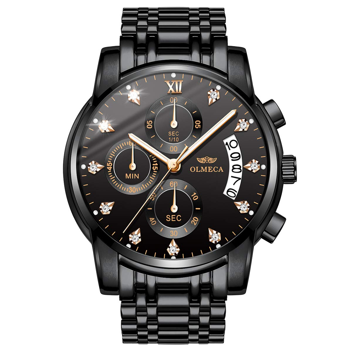 Men's Watches Luxury Diamonds Sports Casual Dress Business Watch Quartz Analog Waterproof Chronograph Date Wristwatch Stainless Steel Band Black Color