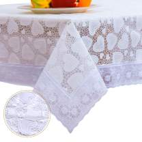 DITAO White Waterproof Vinyl Lace Tablecloth Oblong Easy Wipe Table Cloth for Winter Christmas Party Wedding, 59 x 90 inch