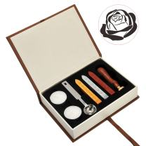 Rose Wax Seal Kit, Yoption Vintage Brass Seal Stamp + Sealing Wax Sticks Set, Great for Wedding Invitation, Cards, Letter (The Rose #2)