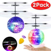 2 Pack Flying Ball Kids Toys RC Flying Toys Hand Controlled Helicopter Infrared Induction RC Flying Light Up Ball for Boys Girls Valentines Day Toys Gift Indoor Outdoor Games RC Drone Toy Rechargeable