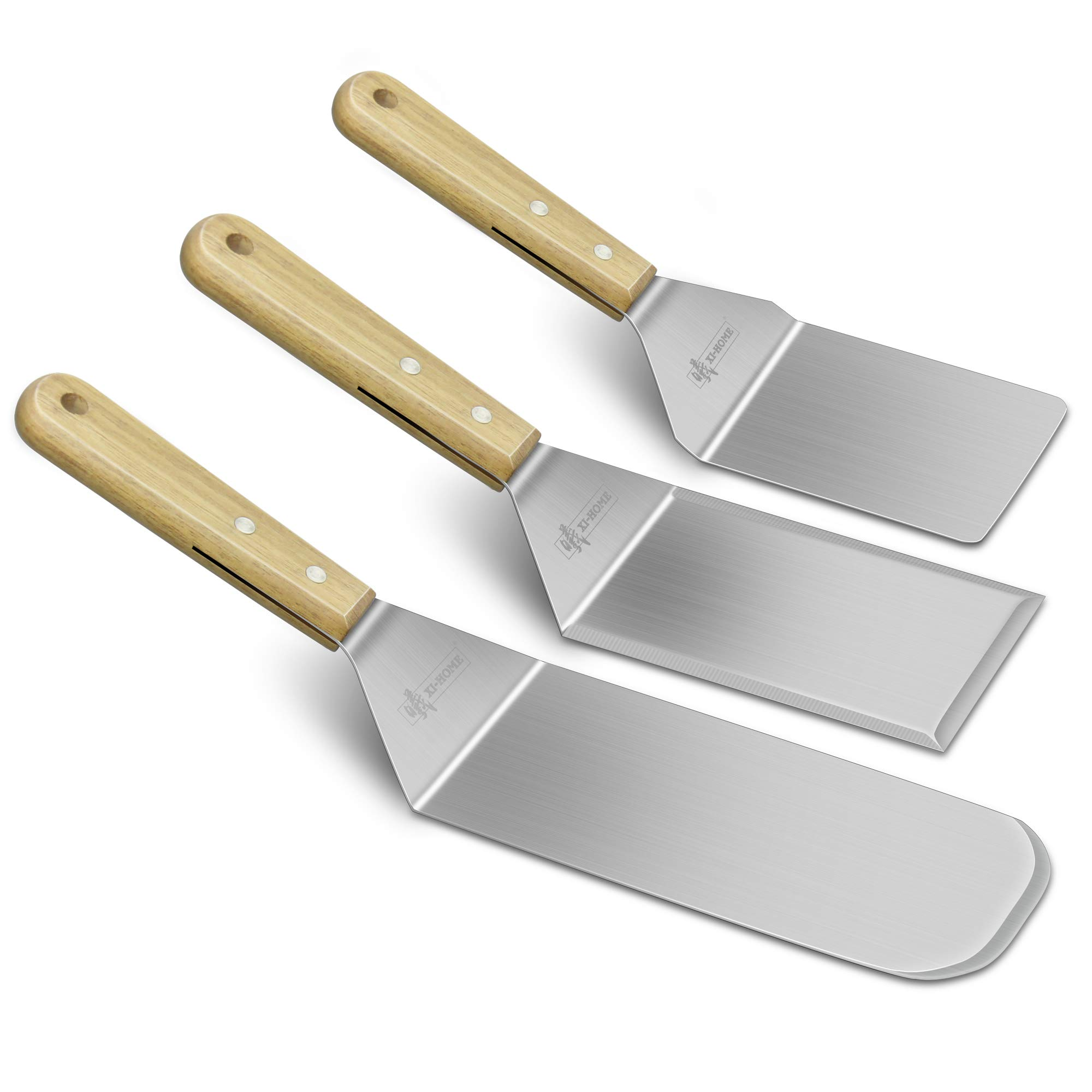 Professional BBQ Grill Stainless Steel Spatulas, Acacia Wood Handle Kitchen Cooking Baking Scraper Turner, Set of 3