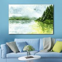 wall26 Canvas Wall Art - Watercolor Style Landscape Painting a Spring Mountain Valley Green Grass - Giclee Print Gallery Wrap Modern Home Decor Ready to Hang - 16x24 inches