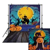 Allenjoy 6x8ft Halloween Photo Backdrop for Newborn Photography Birthday Party Banner Decor Autumn Watercolor Pumpkin Fall Night Background Children Baby Shower Decoration Photography Photo Booth Prop