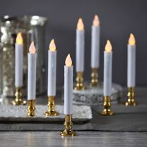 Christmas Window Candles with Gold Holders - Battery Operated White Flameless Taper, Removable Base, Flickering LED Light, Auto Timer, Remote Control & Batteries Included - Set of 8