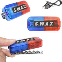 LED SWAT Costume Toys Car Bike Lights, Ultra Bright Blue & Red Clip on Light, Team Officer Role Play Dress Up Accessories for Kid Boy Men Women Adult, Flashlight for Birthday Glow Party Favor Supplies