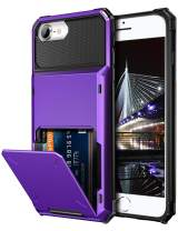 Vofolen for iPhone 6s Case iPhone 8 Wallet iPhone SE 2020 Case Credit Card Holder ID Slot Pocket Dual Layer Protective Bumper Rugged TPU Rubber Armor Hard Shell Cover for iPhone 6 6s 7 8 SE2 (Purple)