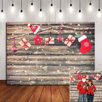 Christmas Party Supplies Photo Background Family Photo Booth Studio Props Snowflake Xmas Birthday Decoration Wood Board Baby Shower Vinyl Photography Backdrop 5x3ft Banner for Kids Portrait