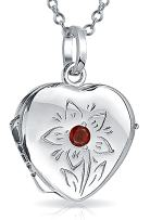 Personalized Engrave Small Simulated Red Garnet CZ Heart Locket Necklace That Hold Picture Photo For Women Craved Flower