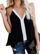 Aleumdr Women's V Neck Strappy Embroidery Tank Tops Loose Casual Sleeveless Cami Shirt