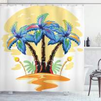 "Ambesonne Palm Tree Shower Curtain, Colorful Cartoon Tropical Island with Hawaiian Palm Trees Torch Seagulls Sunset, Cloth Fabric Bathroom Decor Set with Hooks, 70"" Long, Blue Orange"