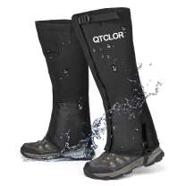 QTECLOR Leg Gaiters Waterproof Snow Boot Gaiters for Snowshoeing, Hiking, Hunting, Running, Motorcycle Anti-Tear Oxford Fabric, TPU Instep Belt Metal Shoelace Hook for Outdoor