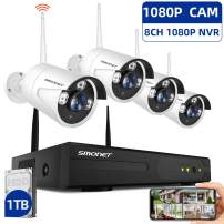 【1TB Hard Drive Pre-installed】SMONET 1080P Wireless Security Camera System,8-Channel Full HD Wireless Home Camera System, 4pcs 2.0MP Indoor Outdoor Surveillance Cameras,P2P,Super Night Vision,Free APP