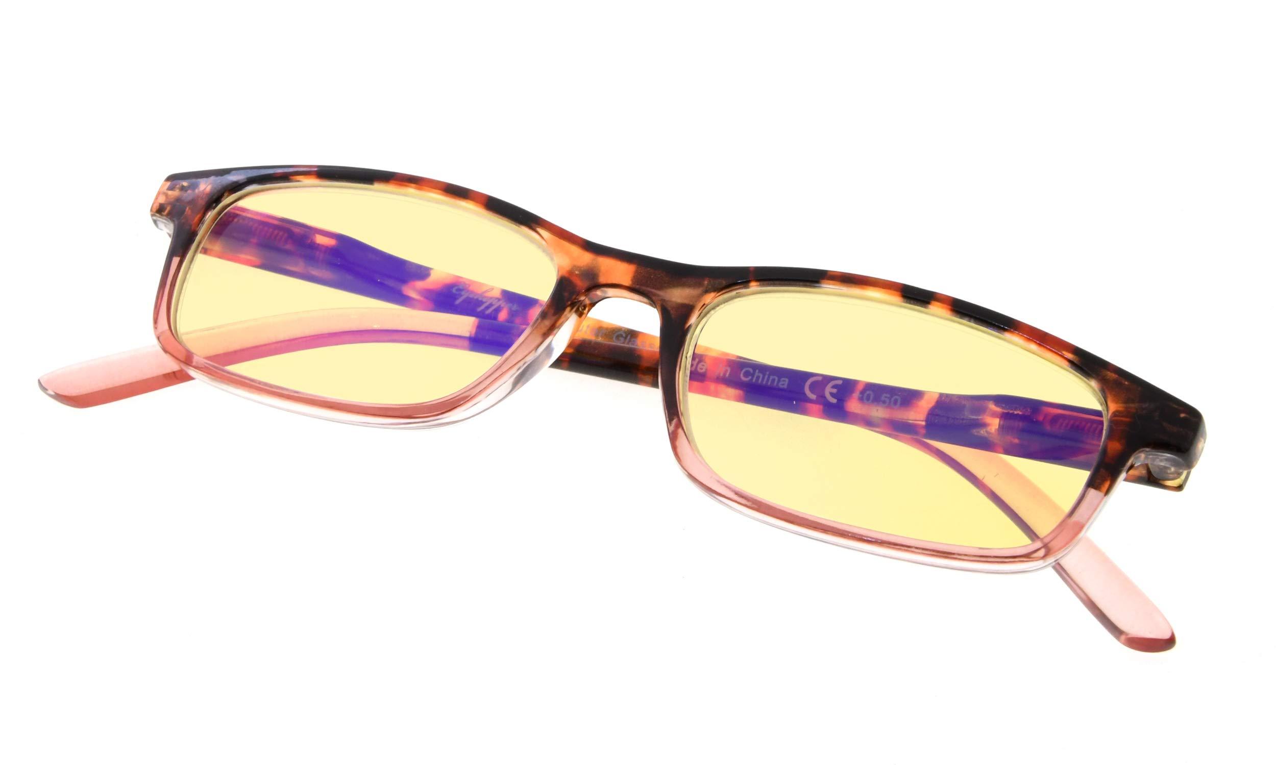 Blue Light Shield Computer Glasses for Women Yellow Tinted Lens Reading Glasses Eyeglasses, Blue Blocker