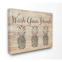 Stupell Industries Wash Your Hands Pineapple Canvas Wall Art, 16 x 20, Design by Artist Linda Woods