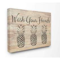 Stupell Industries Wash Your Hands Pineapple Canvas Wall Art, 36 x 48, Design by Artist Linda Woods