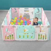Foldable Baby Playpen for Kids Activity, Portable Playpen for Baby Safety, Baby Playpen Gate with Game Door, Multicolor Design Both for Girls and Boys 12+2 Panel (White-Pink-Green)