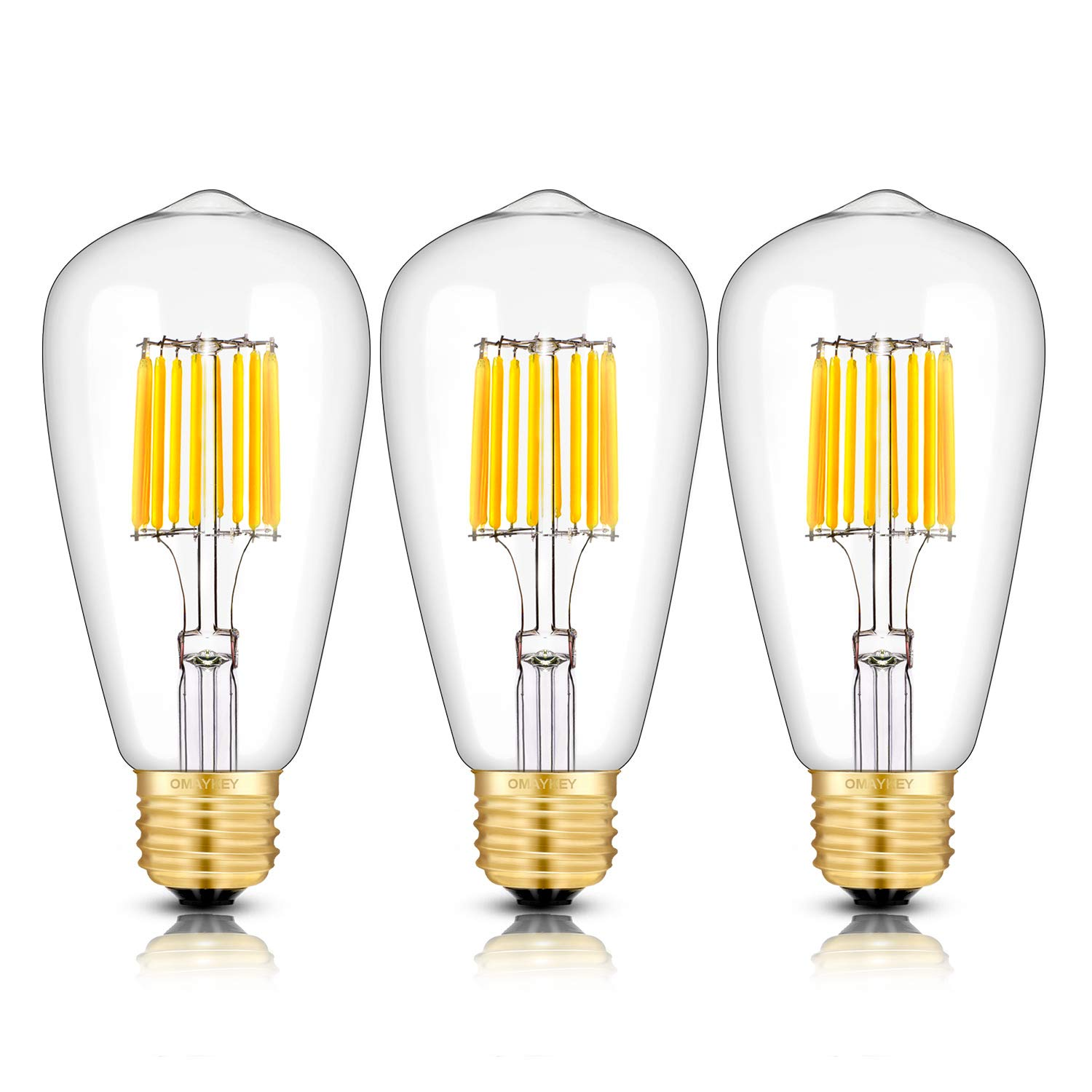 OMAYKEY 10W Dimmable LED Edison Bulb 100W Equivalent 1000 Lumens, 3000K Soft White Glow E26 Medium Base, ST64 Vintage Edison Style Clear Glass LED Filament Light Bulbs, Deep Dimming Version, 3 Pack