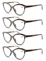 MODFANS 4 Pack Fashion Designer Cat Eye Reading Glasses for Womens with Spring Hinge Stylish Comfortable Readers