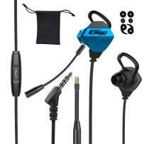 Tititek Gaming Earphone with Dual Microphones, Stereo Wired Headphones for Computer Gamer in-Ear Headphones with Detachable Mic E-Sport Earphone with 3.5mm Jack (Blue)