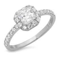 Clara Pucci 1.40 CT Princess Cut Simulated Diamond CZ Pave Halo Bridal Engagement Promise Band Ring 14k White Gold