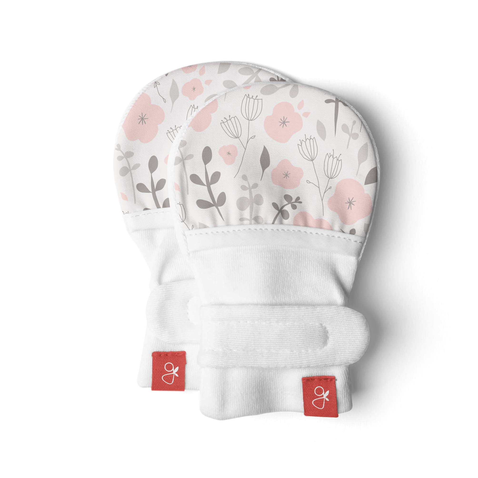 Goumimitts, Scratch Free Baby Mittens, Organic Soft Stay On Unisex Mittens, Stops Scratches and Prevents Germs (0-3 Months, Enchanted Garden)
