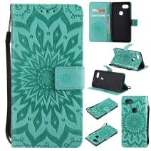 Google Pixel 2 XL Wallet Case,MEUPZZK Sunflower Leather Wallet [Kickstand Feature] [Credit Card Holder] [Magnetic Closure] Flip Shockproof Protective Case Cover for Google Pixel 2 XL(Green)