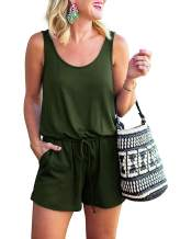 MILLCHIC Women's Summer Casual Scoop Neck Sleeveless Tank Top Jumpsuit Short Rompers with Pockets
