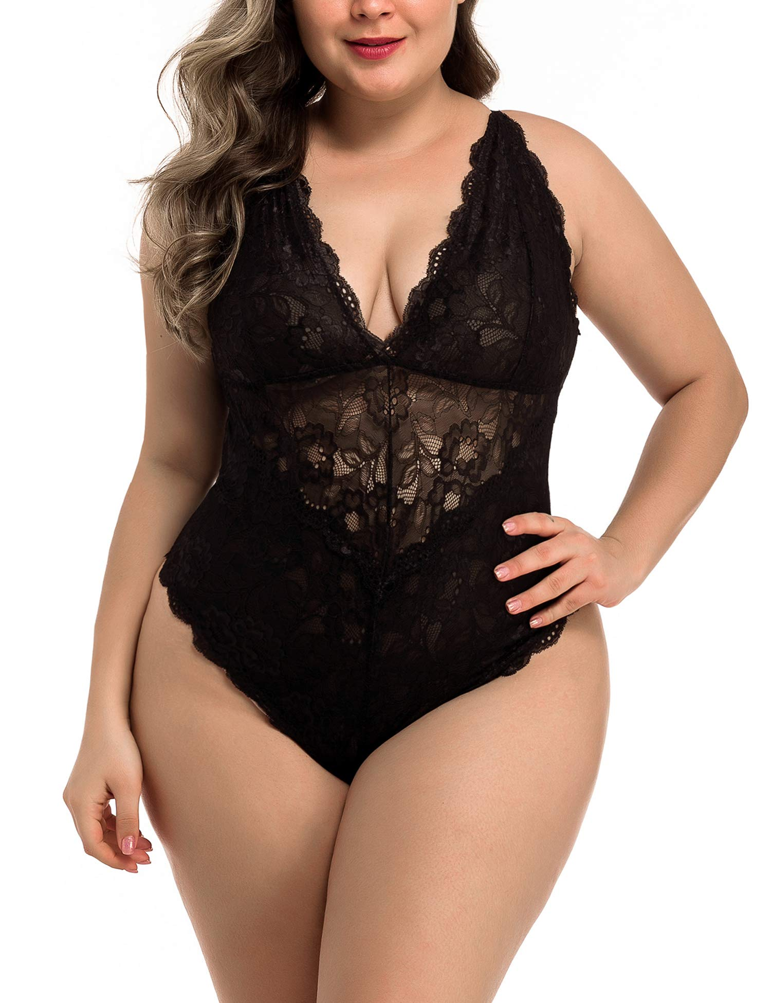 Asiluna Snap Crotch Teddy Plus Size Sexy Lace Bodysuit Lingerie