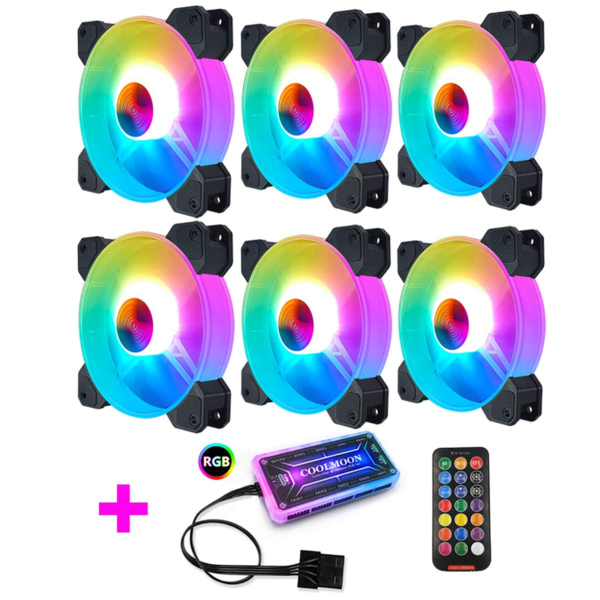 DIY House 120mm Case Fan,120 RGB Full-Ring Light Loop LED PWM Adjustable Color Quiet High Performance Cooling Fan for PC Case 6 Packs with Wireless Controller (6pack+Remote)