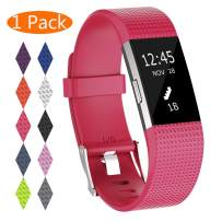 KingAcc Compatible Fitbit Charge 2 Bands, Soft Silicone Replacement Band for Fitbit Charge 2, with Metal Buckle Fitness Wristband Sport Strap Women Men (1-Pack, Rose, Small)
